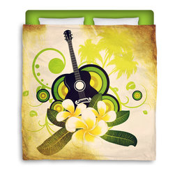 "Surfer Bedding - Eco Friendly ""Hawaiian Plumeria and Guitar"" Premium Queen Size Duvet Cover - Hawaiian Plumeria and Guitar"" Surfer Bedding Is Premium Quality and Made In The USA!"