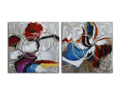 """Omax Decor - Open Spectrum Hand painted 2 Piece Metal Art Set - Overall size: 32"""" x 64"""" (32"""" x 32"""" x 2 pc). Enjoy a 100% Hand Painted Wall Art made with acrylic paints on brushed aluminum plate attached to canvas stretched over a 1"""" thick wooden frame. The painting is professionally hand-stretched and ready to hang out of the box. With each purchase of our art you receive a one of a kind piece due to the handcrafted nature of the product."""