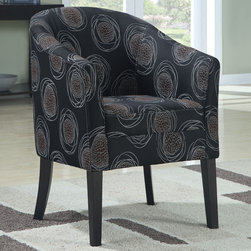 "Coaster - 900436 Accent Chair - Add a modern touch to any room with this accent chair featuring a dark circle patterned fabric and flared legs.; Dimensions: 27.00""L x 24.00""W x 34.00""H"
