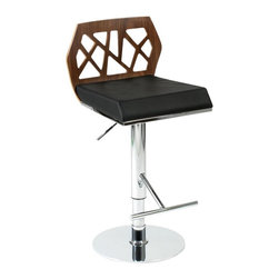 Eurø Style - Sophia Bar / Counter Stool in Walnut and Black - This Sophia Bar/Counter Stool in Walnut and Black is refreshing and modern with intriguing stylized cutouts. This stool has every design aspect you want!
