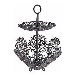 Wrought Iron Spanish Basket - Ornate Spanish wrought iron basket server/stand.