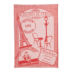 "Coucke - Coucke Bistrot de Paris French Dish Towel - The Bistrot de Paris jacquard dish towel from Coucke will brighten your kitchen and your day. This red and white towel measures 20"" x 30"" and features a detailed illustration woven into the towel with a Parisian bistro theme. Beautiful and soft, this towel will serve you well."