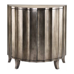 None - Gretta Demilune Cabinet - This demilune cabinet has two touch-latch doors and a handpainted textured metallic finish over silver leafing.