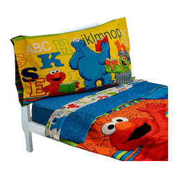 Crown Crafts Infant Products - Sesame Street Toddler Bedding Elmo ABC 123 Comforter Sheets - FEATURES: