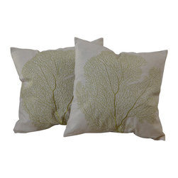 """Best Selling Home Decor - 18"""" Beige Embroidered Pillows (Set of 2) - Give your home an update with this attractive pillow set. These pillows feature a linen blend cover for soft elegance. Set includes: Two pillows; Pattern: Emroidered; Color options: Beige; Cover closure: Hidden zipper closure; Edging: Knife edge; Pillow shape: Square; Dimensions: 18 inches wide x 18 inches long; Cover: Linen Blend; Fill: 100-percent Polyester; Care instructions: Spot clean with a damp cloth."""
