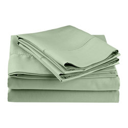 Cotton Rich 600 Thread Count Hem Stitch Sheet Sets - Queen - Sage - Surround yourself in the classic elegance of Impressions Hem Stitch sheet set. This design features hem stitching which is a classic method used to put two pieces of fabric together using a an insertion stitch to give off the appearance of lace. Set includes One Flat Sheet 90x102, One Fitted Sheet 60x80, and Two Pillowcases 20x30 each.