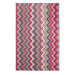 Mohawk Home - New Wave Ziggidy Pink Contemporary Chevron 8' x 10' Mohawk Rug (11681) - Bold zigzags are like graphic art for your floor! With different width stripes and bold colors this rug will shine as the spotlight of your decor.Action Backing