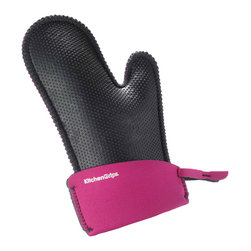 Kitchen Grips Chef's Mitt Small Raspberry - The Kitchen Grips small extendable cuff oven mitt is the perfect way to protect your hands.  The oven mitt is heat resistant  protecting your hands from hot and cold thanks to the soft and pliable FLXaPrene™ material.  FLXaPrene™ is a non-porous material and prevents bacteria growth.  The mitt will protect your hands from steam and liquid burns even when wet.   Product Features      Heat resistant to 500° F (260° C)   FLXaPrene™ material prevents stains and bacteria   Water repellent - protects hands from steam and liquid burns   Non-slip grip   Increased insulation - raised nub surface texture creates insulation between heat source and hand   Flexible