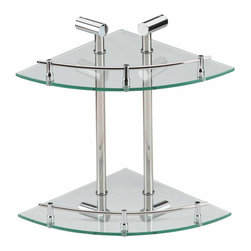 Renovators Supply - Glass Shelves Clear Glass/Stainless, Double Glass Shelf - A tempered glass and stainless steel corner shelving system! Durable, attractive, and versatile!