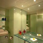 Mirror for vanity with glass counter top - starphire low iron mirror wall to wall, with standard clear vanity.