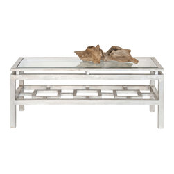 Worlds Away - Worlds Away Rectangular Champagne Silver Leaf Coffee Table PIERRE S - Worlds Away Rectangular Champagne Silver Leaf Coffee Table PIERRE S