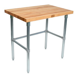 John Boos Commercial - Maple Top Work Table, Galvanized Base - Maple top is 1.75 inches thick and rests on galvanized steel frame. Coated with penetrating oil to render it food-safe and NSF-certified. Style SC top.