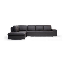 Baxton Studio - Baxton Studio Callidora Dark Brown Leather Sofa Sectional Reverse - This is one leather couch with both size and style that will not disappoint. While the dark brown sectional comfortably seats four, it can fit up to six individuals if the need arises. The design is somewhat understated, but includes details such as the mirrored feet that add to its intrigue and charm. The brown leather upholsters all the top portions of both the seat cushions and back cushions. The rest of the sectional is covered with a closely-matched vinyl. The interior cushioning is high-density polyurethane foam, which provides you and your guests with a medium-firm relaxation experience.