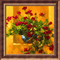 "Amanti Art - ""Ivy Geraniums"" Framed Print by Philip Craig - Contemporary art done in an impressionistic style can add warmth to your home. In this print, red geraniums burst forth from complimentary green foliage, against a rich golden background with a hint of blue for balance. The sun will seem to shine indoors with this print hanging in your living room."
