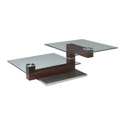 """Pastel Furniture - Pastel Janice Rectangular Glass Coffee Table in Stainless Steel and Walnut Wood - The Janice coffee table is a simple yet elegant design that can add that stylish and modern flair to your living area. This coffee table is made with stainless steel and walnut wood with a 24"""" x 36"""" rectangular glass top."""