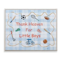 "Stupell - Thank Heaven for Little Boys Wall Plaque - Adorable and charming plaque features a beautiful lithograph with original artwork by Jane Farrimond. ""Thank Heaven for Little Boys"" is surrounded by classic sport gear and accented with a blue plaid background."