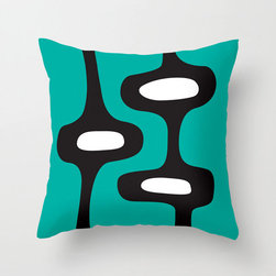 Mod Motel Pillow Cover in Green - Perk up your space with this celebration of early sixties Mod style. An edgy combination of high-drama black on bold green will have your living room Ready, Steady, Go!