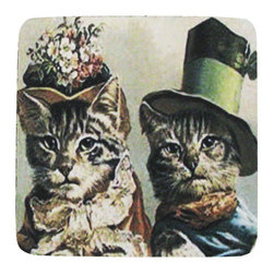 Golden Hill Studio - Cat Couple Coaster, Set of 4 - This is a wonderful antique print on a super absorbent neoprene coaster.  Made, printed and assembled in the USA!