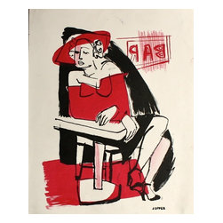 Lost Art Salon - Jerry Opper Original Lady in Red, 1940-50s - Late 1940s-Early 1950s stone lithograph on paper by California artist Jerry Opper (b.1924). After graduating from Hollywood High School, he worked in movie studios and attended art classes at Choiunard Art Institute. In 1942 he was drafted into the army and was then able to study at the Colorado Springs Fine Arts Center while his outfit was stationed in Colorado. After he was discharged in 1945 he returned to Chouinard and his work in movie studios until 1947, when he moved to San Francisco. Mr. Opper then enrolled at the California School of Fine Arts. Opper's prints have been included in several major shows throughout the country: Oakland Art Gallery; Sacramento State Fair; San Francisco Museum of Art; International Color Lithography Exhibition at Cincinnati, Ohio; Pennell Print Show at the Library of Congress, Washington D.C.; Brooklyn Museum Print Show; Los Angeles County Fair, Pomona; City of Paris Rotunda Gallery, San Francisco. Unframed, shipped in standard sized archival mat.