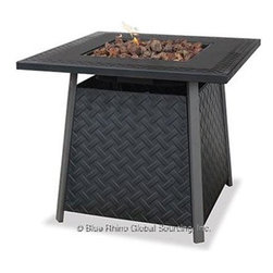 """Blue Rhino - Uniflame Lattice LP Gas Firepit - Uniflame Lattice Outdoor LP Gas Fireplace with Steel Mantle and Bowl; Hidden Control Panel with Electronic Ignition; Includes Lava Rocks; Simple Assembly - No Tools Needed; LP Gas Tank Not Included; Multi-Spark Electronic Ignition; 30 000 BTU's; 32.1"""" x 32.1"""" x 27.6""""."""