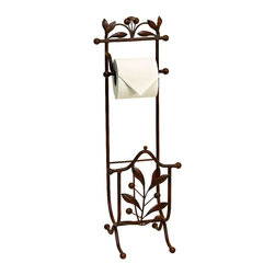 Woodland Imports - Metal Toilet Paper Leaf Berries Brown Bathroom Accent Decor 50021 - Attractive metal toilet paper stand with leaf and dingle berry details in rich brown color bathroom accent decor