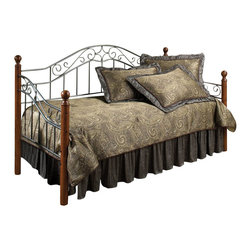 Hillsdale - Hillsdale Martino Wood and Metal Daybed-Daybed with Roll-Out Trundle - Hillsdale - Daybeds - 1392DBLHTR - The Hillsdale Martino Daybed has wood and metal construction. It features round posts topped with traditional finials sloped arms and an arched backrest with intricately details scrollwork. The wood posts have a classic cherry finish that is complemented by the smoke silver finish of the metal grills. This twin size daybed includes a mattress supporting suspension deck for your convenience. Extend its versatility by using it as a sofa in the home office or combining it with the optional roll-out trundle in the guest room for even more sleeping space. The concealed space saving optional roll-out trundle includes six casters for easy setup and supports a standard twin size mattress. With a traditional style and a beautiful two-tone finish the Martino Daybed is sure to make any room in your home inviting and comfortable.