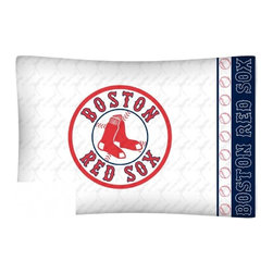 Sports Coverage - MLB Boston Red Sox Microfiber Pillow Case - Officially licensed MLB Boston Red Sox Microfiber coordinating pillow case to match Comforters, Pillow sham, Bedskirts and Draperies. The Pillowcase only has a white-on-white print and the officially licensed team name and logo printed in team colors. Made from 92 gsm microfiber for extra stability and soothing texture and is 100% Polyester. Wrinkle resistant and stain-resistant. Get your MLB Pillow Case Today.   Features:  -  92 gsm Microfiber,   - 100% Polyester,    - Machine wash in cold water with light colors,    -  Use gentle cycle and no bleach,   -  Tumble-dry,   - Do not iron,   - Pillow case Standard - 21 x 30,