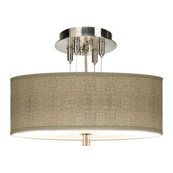 """Giclee Gallery - Contemporary Burlap Print Giclee 14"""" Wide Ceiling Light - Define your style with this made-to-order drum shade semi-flushmount ceiling light. The design features an exclusive pattern printed on high-quality canvas. A white acrylic diffuser at the bottom of the shade prevents glare. Includes extra cable and cord so you can vary the hanging height. U.S. Patent # 7347593.Brushed steel finish. Exclusive giclee printed burlap pattern.1/8"""" thick acrylic diffuser. Takes two 60 watt bulbs (not included). 32"""" pre-set hanging height. Maximum hanging height of 10 feet. Minimum hanging height of 6"""" (as pictured).Shade is 5"""" high and 14"""" wide.Please note this shade uses a printed pattern and not actual burlap.  Brushed steel finish.  Exclusive giclee printed burlap pattern.  1/8"""" thick acrylic diffuser.   Takes two 60 watt bulbs (not included).  32"""" pre-set hanging height.   Maximum hanging height of 10 feet.  Minimum hanging height of 6"""" (as pictured).  Shade is 5"""" high and 14"""" wide.  Please note this shade uses a printed pattern and not actual burlap."""