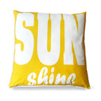 Yellow Sunshine Outdoor Pillow - A bright and fun way to bring color to an outdoor space or spruce up a patio for the warmer weather. The Yellow Sunshine Pillow features a playful font that draws the eye in and enchants any furniture that it sits in with its lively coloring and happy print.