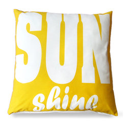 Yellow 'Sunshine' Outdoor Pillow - A bright and fun way to bring color to an outdoor space or spruce up a patio for the warmer weather. The Yellow Sunshine Pillow features a playful font that draws the eye in and enchants any furniture that it sits in with its lively coloring and happy print.