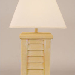 Coast Lamp Manufacturing - Weathered Yellow Gold One-Light Rectangle Shutter Pot Table Lamp - -Proudly made in the USA. Coast Lamp Manufacturing - 11BB