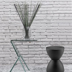 Zuo Modern - Journey Side Table w Spring Stool - Table features bent semi-tempered glass with rubber corner caps. Table in Clear finish. Uniquely shaped piece can be used as a stool or side table. Chair made from fiberglass. Chair in black matte coat finish. Table: 19.5 in. W x 19.5 in. D x 23.5 in. H. Stool: 12.5 in. Diameter x 16.5 in. HZuo Modern Journey Side Table Clear