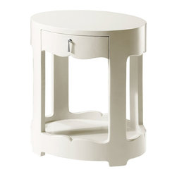 Bungalow 5 Brigitte White 1-Drawer Side Table - Brigitte White 1 Drawer Side Table In White Lacquer Finish.