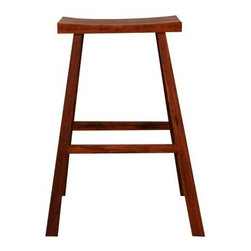 Bar Height Bamboo Holly Stool-2 Stools - Add sleek elegance to your home bar with the Bar-Height Bamboo Holly Stool. Constructed of exotic bamboo in a lush, warm caramelized finish, this gorgeous stool is ideal wherever you need a bit of extra seating. It features a comfortable, saddle-style seat. As a naturally sustainable resource, bamboo is an earth-friendly choice for furniture. It is hard, durable, and stable for years of use. Dimensions: 17L x 10W x 29.25H inches. Please note: This item is not intended for commercial use. Warranty applies to residential use only.About Greenington LLC.Greenington LLC manufactures the finest natural bamboo furniture available on the market. Bamboo is strong and grows rapidly, making it an ideal material for furniture as well as an earth-friendly, environmentally sustainable resource. Greenington offers a full line of unique, high-quality bamboo furniture for the bedroom, living room, dining room, and office, and its products include tables, chairs, benches, and complete bedroom sets (bed, nightstands, and dressers). Greenington LLC also provides bamboo wine cabinets, bamboo stools, and much more.