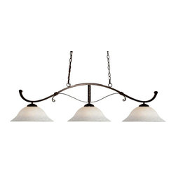 "Three Light Bronze White Mottle Glass Pool Table Billiard Light - With its simple curves and rich bronze finish, this fixture will bring contemporary elegance to any space. Complimentary white mottle shades are paired with this three light fixture, and has 72"" of chain per side is included to ensure the perfect hanging height."
