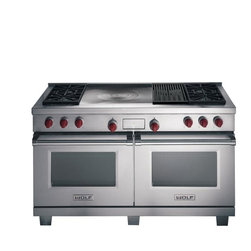 "Wolf 60"" Dual Fuel Range - 6 burners, Double Griddle - Wolf Dual Fuel Ranges offer a wide variety of top configurations and standard dual stacked surface burners. The optional steel griddle, infrared charbroiler and French Top give you the freedom to customize your Dual Fuel Range. The large electric ovens feature the Wolf dual convection system that delivers even temperature and airflow throughout."