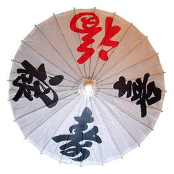 Oriental-Décor - Black and Red Character Umbrella - For anyone who doesnt know how to read Chinese characters like these, this umbrella is certainly enigmatic. Three black characters and a single red  one can be topic of discussion for ages to comeor until you find someone who can actually read it. Looking to add another interesting piece to show to your friends during your next house or garden party? The answer is as simple as grabbing one or two pieces of this Black and Red Character Umbrella. Chinese character embellishments have always inspired those who love the rich and mysterious Asian culture along with the Asian-themed interior designs and artwork. You do not need to have a Zen room to be able to enjoy the Black and Red Character Umbrella as the basic colors and the thought-provoking symbols will easily blend with conventional furniture styles. If you are looking for another approach though, this parasol is also a great fashion statement for those who want to update their outfit with a touch of smart elegance. Who needs a luxury label purse to dress
