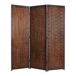 DANYL SCREEN - A 3 panel screen made of patterned wood panelling.   The screen has a unique brown metallic finish with subltle brwon and black accents to complement the screen.