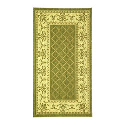 Safavieh - Lattice Rug with Border in Olive & Natural (5 ft. 3 in. Round.) - Size: 5 ft. 3 in. Round. Machine Made. Made of Polypropylene. An intricate floral pattern surrounded a lattice design highlights this durable indoor-outdoor area rug, an old world, charming addition to your porch, patio or entry. Finished in olive and natural, the rug is machine made for strength and long lasting beauty.
