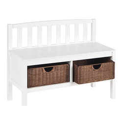 "Holly & Martin - Holly & Martin Brazos White Bench w/ Brown Rattan Baskets X-04-5-110-440-90 - This low profile contemporary white storage bench goes well at the end of a bed, in a bathroom, entryway, or living room. Finished in frost white, this bench is built with an all-wood construction and has two rattan baskets perfect for storing all your necessities. The seat back is symmetrically lined with vertical slat braces and the sides are open for a sleek styling. Each of the two baskets measures 12"" deep, 15"" wide, and 7"" tall while the seat itself measures 12.5"" deep and 36"" wide. This simple slender design is sure to provide a convenient seat without taking up too much precious space in your home.  - FEATURES:                                                                                             - Low profile storage bench perfect for small spaces                                                    - Features 2 rattan baskets for storing all your necessities                                            - Contemporary, slatted back                                                                            - Painted white finish with brown rattan baskets                                                        - PRODUCT SPECIFICATIONS:                                                                               - Seat: 36"" W x 12.75"" D x 18.75"" H                                                                     - Backrest: 35.75"" W x 9"" H                                                                             - Baskets: 14.25"" W x 11.5"" D x 6"" H                                                                    - Clearance: 33"" W x 11.25"" D x 7.25"" H                                                                 - Approx. weight: 32.5 lb.                                                                              - Supports up to: 300 lb. (seat), 10 lb. (per basket)                                                   - Materials: rubberwood, MDF, rattan                                                                    - Assembly required                                                                                     - Overall: 36"" W x 14.25"" D x 28.5"" H"