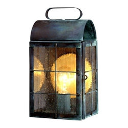 Lanternland - New Haven Colonial Copper Lantern Outdoor Wall Sconce, Antique Brass, Medium: 12 - The New Haven Colonial Copper Lantern Wall Sconce, shown here in our Verdi Green finish with Seeded glass, is a classic Colonial artisan copper lantern made by hand in the USA from high quality copper or brass. Designed to last for decades and guaranteed for life to never rust or corrode, this handcrafted copper lantern will enhance the natural beauty of your home while adding curb appeal and safety.