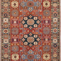 Geometric Traditional Red - Caucasian Des. Hand knotted wool Red & Blues. Available sizes 6x9, 8x10, 9x12, 10x14, 12x15, 12x18 and custom sizes.