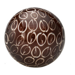 Kouboo - Decorative Ball with Sigay Seashell Inlay, Burgundy - This handmade decorative ball features an inlay of sigay seashell. Standing alone or combined with our other distinctive decorative balls, this accent piece will create a stunning coastal effect.1 year limited warrantyHand made with inlay in coconut shell inlay.Wipes clean with dry, soft clothWeighs 0.35 lb