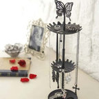 d'Oreille - Black Metal Butterfly Stand with Tray for Jewelry and Accessories, M - An attractive way to store your chains, necklaces and other small essentials.