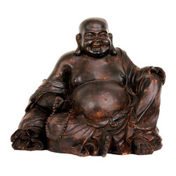 """Oriental Furniture - 8"""" Sitting Laughing Buddha Statue - This is a large and substantial Lucky Buddha statue. Called Budai in Chinese, Hotei in Japanese, this happy looking man is thought to have been an actual 10th century Zen Buddhist monk. He's believed to have been an unusual, unique Zen figure in that happiness, generosity, and good cheer were central to his teaching. People who have this """"Laughing Buddha"""" statue love the rich dark, faux bronze finish, the happy face, the long ear lobes, and big, big, bellies; But the most important part of a Lucky Buddha statue is the magic bag of plenty under his elbow - It never ever runs out."""