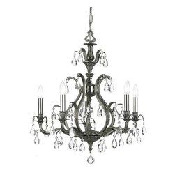 Crystorama Lighting - Crystorama Lighting 5565-PW-CL-S Dawson Traditional Chandelier in Pewter - Crystorama Lighting 5565-PW-CL-S Dawson Traditional Chandelier In Pewter With Clear Swarovski Elements Crystal