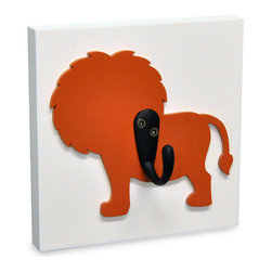 Lion Safari Kids Decorative Wood Wall Hook by Homeworks Etc. Designs - A lion is the perfect way to guard a coat, backpack or bathrobe from becoming a pile on the floor.