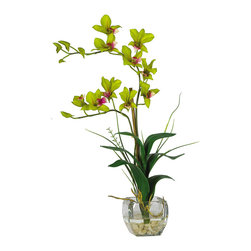 Nearly Natural - Dendrobium with Glass Vase Silk Flower Arrangement - Arching gracefully over natural stems and lifelike leaves, our Dendrobrium arrangement would be an elegant addition to any home or office decor. The whimsical orchid blooms skip along twining stems and create a gentle, refined design statement. A liquid illusion-filled glass vase perfectly finishes this beautiful arrangement. Colors: Green; Pot Size: W: 4 in, H: 4 in. Height: 22 in; Width: 16 in; Depth: 8 in.