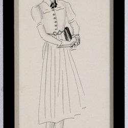 "Fashion Ink Sketch of Woman in Dress - Looking smart in a lovely dress, hat, and high heels, a young woman is ready to set out for the afternoon in this striking ink drawing from the mid-20th century. Unsigned, drawn by Barbara Bernhardt. An American artist, Bernhardt studied at the Art Students League of New York and was known for her humorous and whimsical drawings.  Ink on paper, displayed in black wood frame. There is some slight discoloration along upper and lower center of paper.  Image, 5.25""L x 12.75""H."