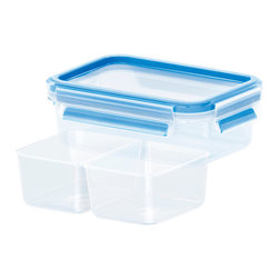 Emsa Clip And Close 34 Oz. Container - The perfect balance of style and technology can be fo3D Perfect Clean - a revolution in food storage containers.  The new Emsa 3D Clip & Close and Snap & Close food storage containers feature the 3D Perfect Clean sealing system making them 100% sanitary  100% leak proof  and 100% air tight.  The containers are manufactured in Germany out of the highest quality BPA free raw materials in a facility that is routinely audited and inspected by a 3rd party to ensure quality.  With the patented seal technology  there are no gaskets to separate from the lids - they are permanently bonded to the lids to ensure a lifetime of use without leaking.  We are so confident that you will love our new 3D Perfect Clean food storage containers that we cover them with a 30 year warranty - even on the clips and lids!    Capacity - 1 L / 34 fl. Oz.